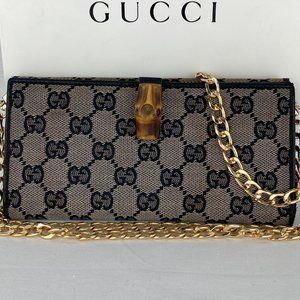GUCCI Bamboo GG Supreme Wallet on Chain